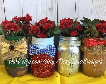 The Wonderful Wizard of Oz inspired mason jar set, birthday party decor, home decor, desk decor, wedding decor