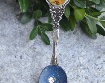 Souvenir Spoon/Hand Painted Spoon/Snowman Spoon/Disney World/Spoon Ornament