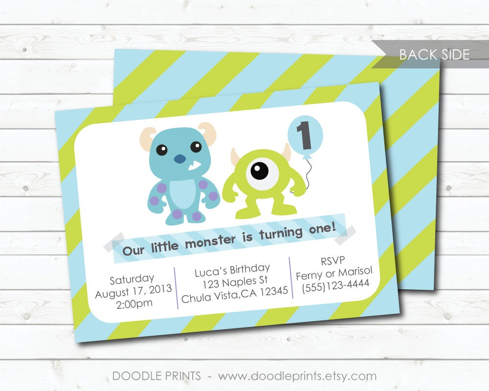 Monsters Inc Invitation Printable Birthday Party Invitation