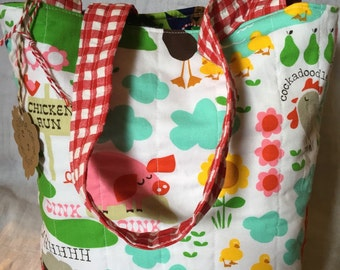 Reversible Farm Life/ Santas' Farm toddler tote/ Childs tote bag/ library tote