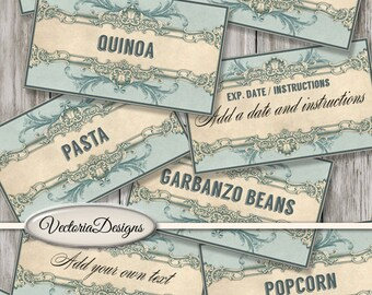52 Pantry Labels Printable Jar Labels kitchen pantry organization instant download printable images digital collage sheet - VDLAVI1429