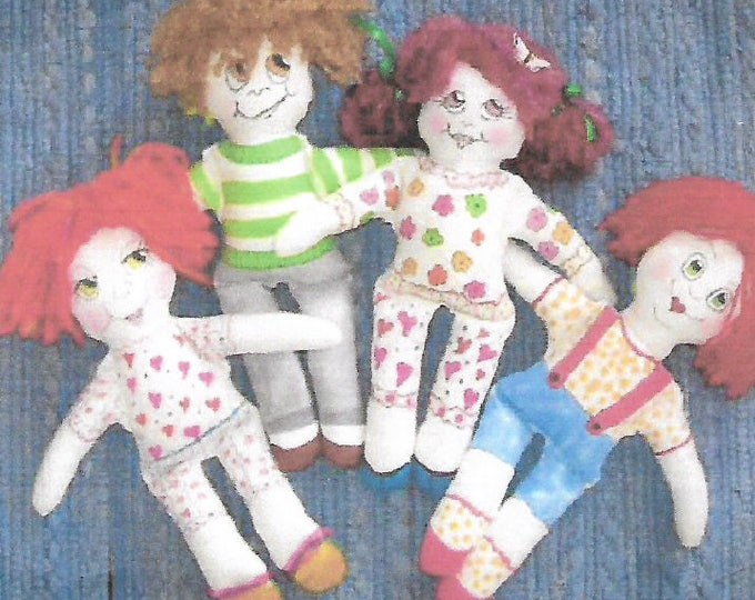 KK801E – Sassy But Simple Dolls  - Cloth Doll Making Sewing Pattern, PDF Download