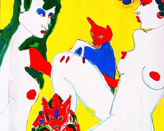 Cat Ladies Lounging in Yellow/ Cat Art / Acrylic / Cat Lady / Lesbian/  ORIGINAL Painting