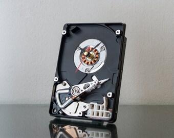 Modern Desk Clock, Hard Drive Clock, Unique Clock, Geek Gift, Industrial Clock, Birthday Gift, Husband gift, Unique Gift, Boyfriend Gift