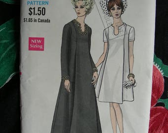 UNCUT * Vintage 1960s Vogue Pattern 7499  / One-Piece Maternity Dress. Slightly-fitted A-line Dress in Evening or Street Length / Bust 34