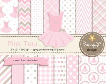 Pink Tutu Baby Shower Digital Papers and Tutu Dress Clipart, Baby Girl Baptism, Dedication, Birthday, Christening