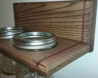 Artisan designed mason jar holder of hardwood with purple heart inlays