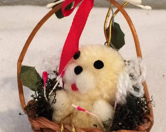 Vintage Hand Crafted Teddy Bear in Basket Ornament So adorable!