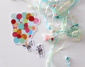 Bon Voyage! - Vinyl sticker featuring little creatures and balloons