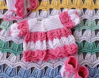 Victorian Ripple Baby Layette Crochet Pattern - PDF