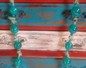 Teal Blue Bead and Turquoise Chip Necklace-