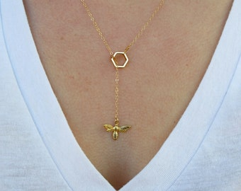 Bumble Bee and Honeycomb Necklace, Honey Bee Necklace, Honeycomb Necklace, Gold Bee, Hexagon Necklace, Lariat
