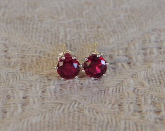 Ruby 4mm Studs, Ruby Stud Earrings, Tiny Red Ruby Sterling Posts, Red Ruby Post Earrings, July Birthstone, Lab Created Ruby