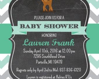 Fawn Baby Shower Invite, Deer Baby Shower Invitation