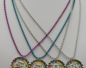 Stocking Stuffer - Smart Girls Rock Necklace. Bottle Cap Necklace on Ball Chain w/ Epoxy Dome over cute statement re; smart girls. Handmade.