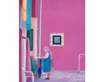Venice painting, canvas art, Burano Island, Italy painting, Venice Art, street scene, girls room art, designer decor, Etsy art, Jan Matson
