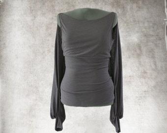 Cape sleeve top/gray blouse/long sleeve boat neck/drape back