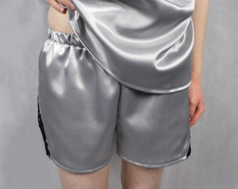 Silver Satin Top with Lace Sides