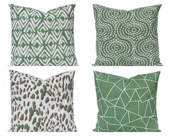 Pillow Cover - Dark Green - Throw Pillow Cover - Green and White - Sofa Pillow Covers - Forest Green Decor - Green Bedding - Green Cushion