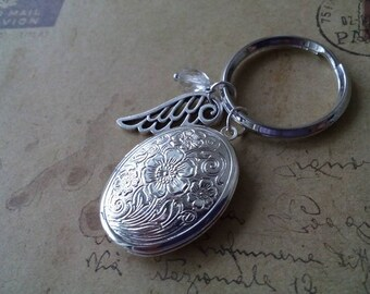 Medallion Keychain ~ Angel Wings ~-silberfarben-