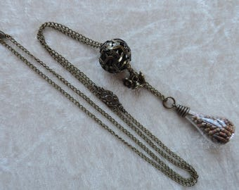 Vial necklace, long necklace bronze