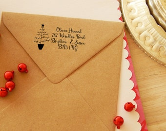 Naive Tree Return Address Olive Wood Stamp