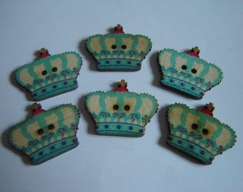 6 buttons Crown blue / / 25 X 30 mm