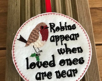Robin Decoration, Robin Christmas Decoration, Embroidered Robin, Robin Tree Decoration, Hanging Robin Decoration