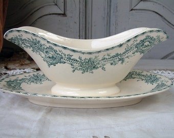 Antique french ironstone teal green transferware sauce boat. Gravy boat. Teal green transferware. French transferware. Christmas serving