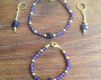 Purple Amethyst Gold Bracelet and Earring Set