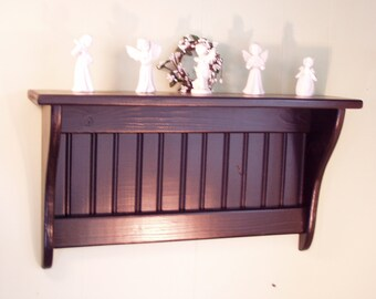 Pine Coat Rack Wall Shelf Painted Black 30 Inches