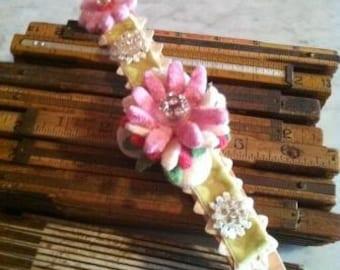 Pink Felted Wool Flower Bracelet