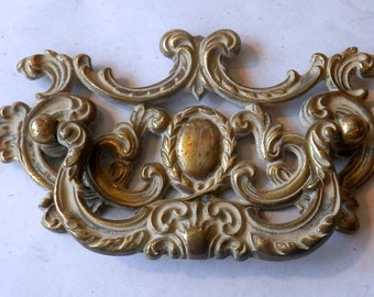 """one (1) vintage cast brass drawer pulls 3 1/2"""" on centers"""