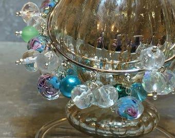 Blue Floral Burst Bangle Bracelets Each Sold Separately