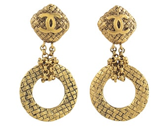 Chanel Basket Weave Earrings