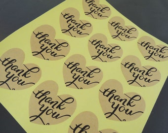 Thank You Stickers - Kraft Heart Shaped Thank You Sticker