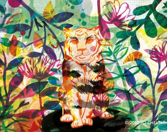 Bloom - Tiger Artwork - Illustrated A3 A4 Print - Nature and Wildlife - Tropical - Colourful - Art for the Home