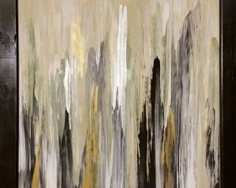 Abstract Canvas Painting Acrylic Original 16x20 - Gold Silver Black White Olive green - with black frame option!