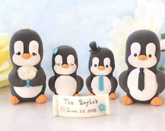 Unique Family wedding cake toppers Penguins -LARGERsize, 2 babies/children - unique anniversary gift wedding bride groom blue son daughter