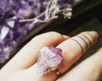 Raw Amethyst Claw Statement Ring