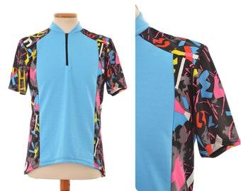 80s 90s neon CYCLING JERSEY / mens size D6 Medium / short sleeve T-shirt top