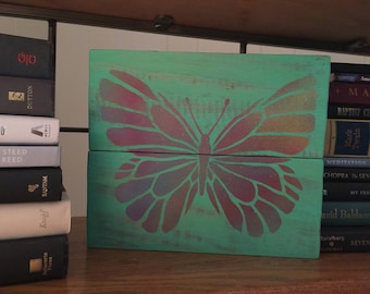 Butterfly Pallet Art Repurposed Wood Rustic Retro Wall Hanging