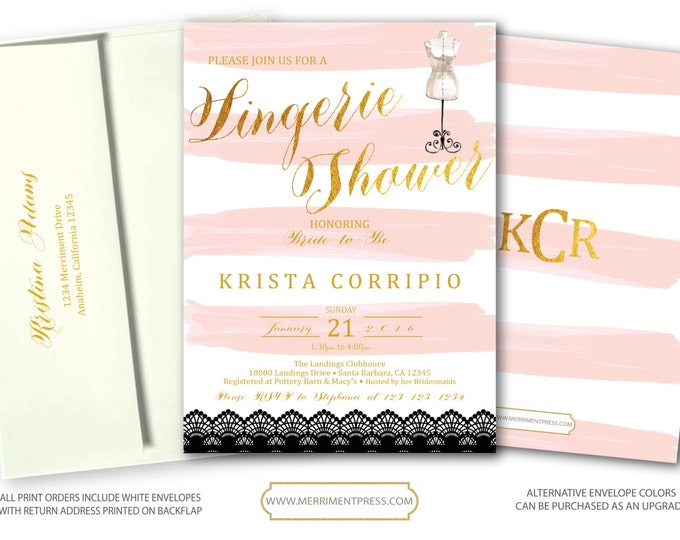 Blush Pink Gold Lingerie Invitation // Pink Stripes // Watercolor // Gold Foil Print // Bridal Shower // SANTA BARBARA COLLECTION