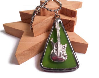 Guitar Necklace Green Glass Necklace Stained Glass Jewelry Handmade Necklace Glass Metal Jewelry Triangle Necklace Jewlery Music Pendant