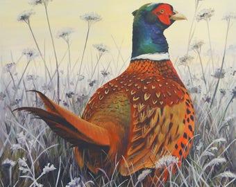 Original Painting - Frosty Morning Pheasant' Acrylic on Canvas 50cm x 50cm