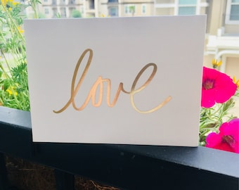 Love Card-White-Foiled Gold-Blank Inside-Pack of 6-Matching Envelopes