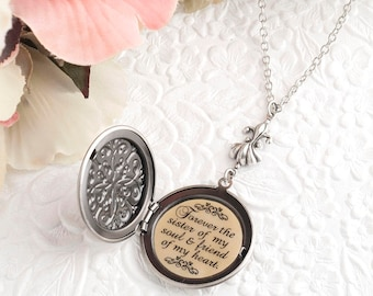 Best Friend Gift Soul Sister Necklace Forever the sister of my soul & friend of my heart BFF Necklace Bridesmaid Gift Bridal Party Gifts