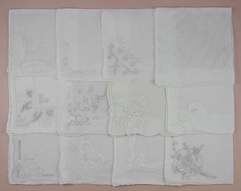 Vintage Hanky Lot,Wedding Hanky Lot,One Dozen White Wedding Vintage Hankies Handkerchiefs (Lot #79)