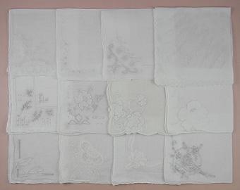 Vintage Hanky Lot of One Dozen White Wedding Vintage Hankies Handkerchiefs  (Lot #79)