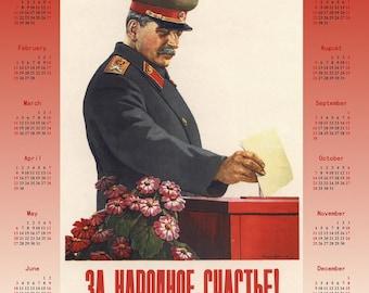 1950 Stalin Soviet propaganda Stalinism poster + Calendar 2018